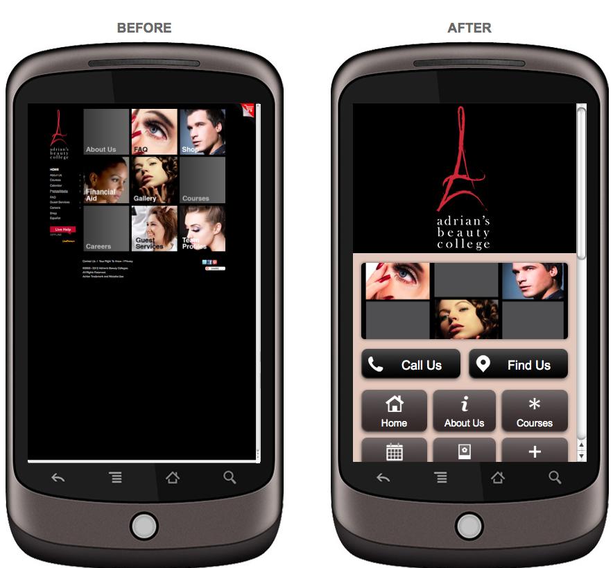adrians mobile friendly website