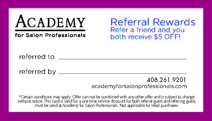 Academy for Salon Professionals Referral Card