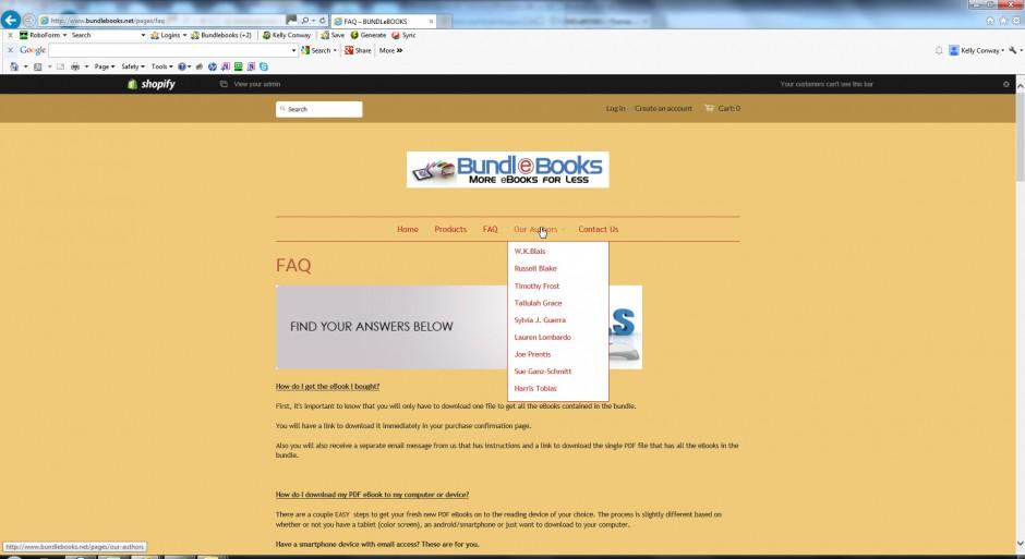 authors authors list pulldown menu