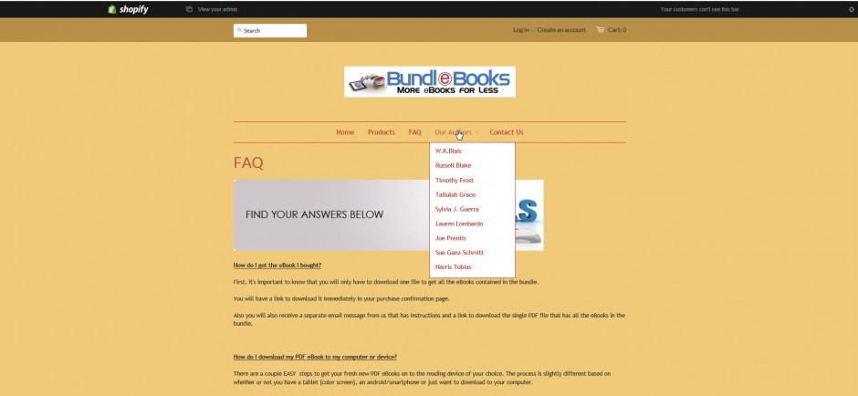 authors list pulldown menu