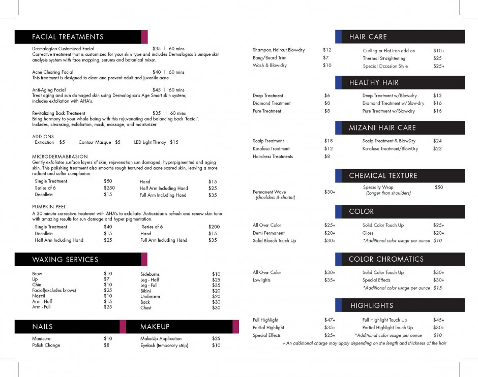 The academy for salon professionals service menu for Academy for salon professionals price list