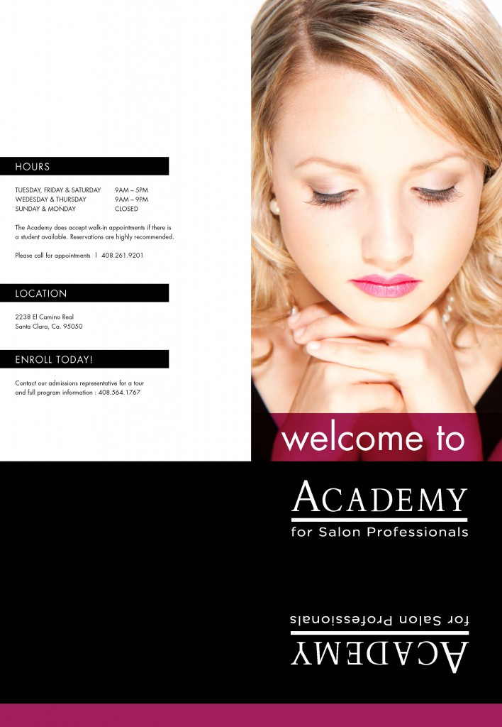 Academy for salon professional welcome folder for Academy for salon professionals price list